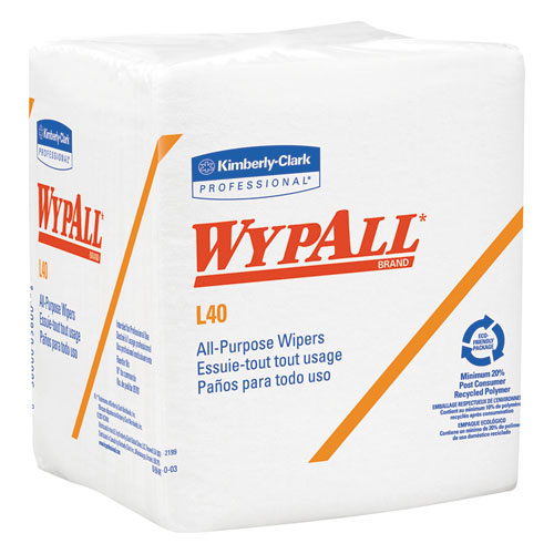 L40 Wipers, 1/4 Fold, White, 12.5x12, 56/Pack, 12 Packs/Carton 05600