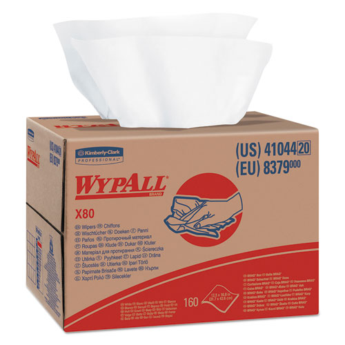 WypAll® X80 Cloths, HYDROKNIT, BRAG Box, White, 12 1/2 x 16 4/5, 160/Box