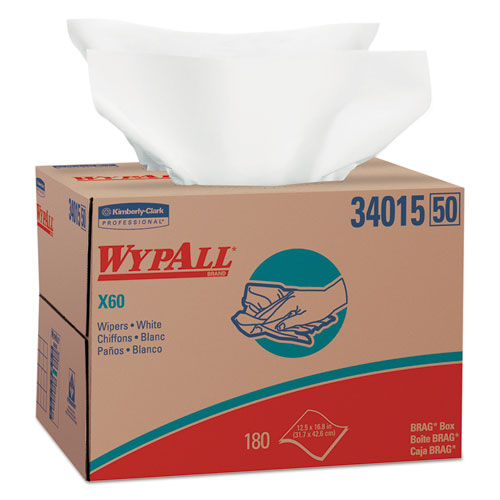 WypAll® X60 Cloths, BRAG Box, White, 12 1/2 x 16 7/8, 180/Box