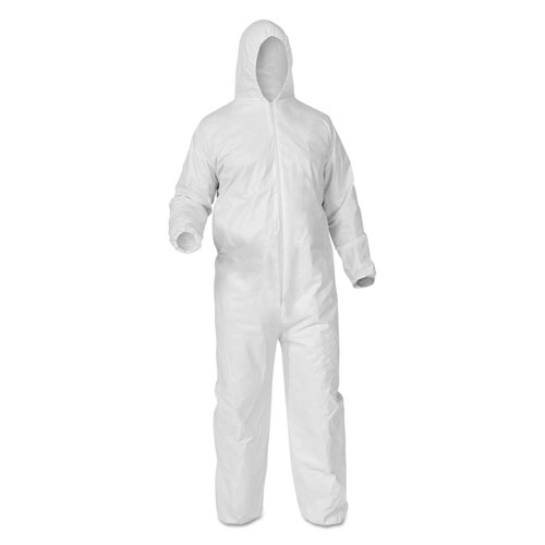 A35 Coveralls, Hooded, X-Large, White, 25/Carton