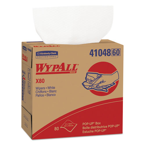 WypAll® X80 Cloths, HYDROKNIT, POP-UP Box, 9 1/10 x 16 4/5, White, 80/Bx, 5 Boxes/Carton