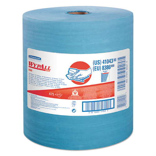 WypAll® X80 Cloths with HYDROKNIT, Jumbo Roll, 12 1/2 x 13 2/5, Blue, 475/Roll