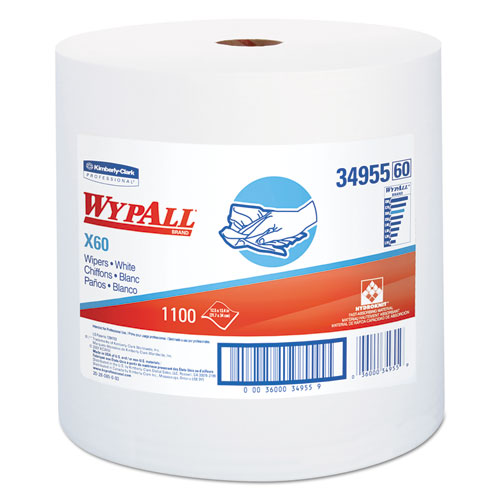 X60 Cloths, Jumbo Roll, White, 12 1/2 x 13 2/5, 1100 Towels/Roll | by Plexsupply