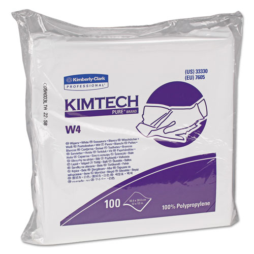 W4 Critical Task Wipers, Flat Double Bag, 12x12, White, 100/Pack, 5 Packs/Carton