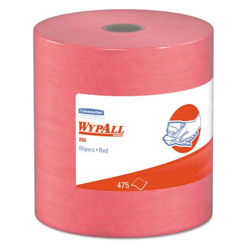 WypAll® X80 Cloths, HYDROKNIT, Jumbo Roll, 12 1/2 x 13 2/5, Red, 475 Wipers/Roll