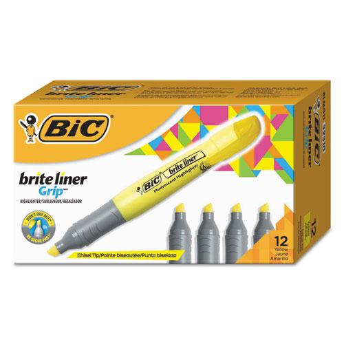 Brite Liner Tank-Style Highlighter, Chisel Tip, Fluorescent Yellow, Dozen | by Plexsupply