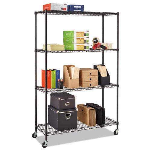 Alera® Complete Wire Shelving Unit w/Caster, Four-Shelf, 48 x 18 x 72, Black Anthracite