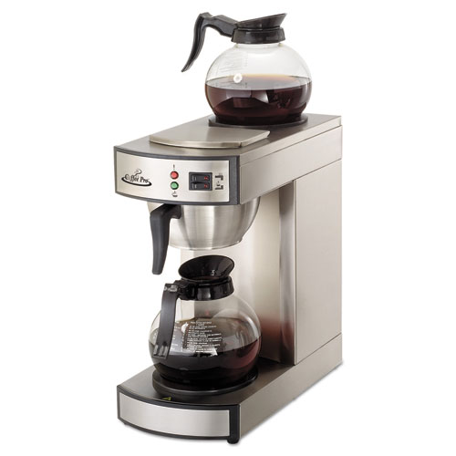 Coffee Pro Two-Burner Institutional Coffeemaker,10/12 Cup, Stainless Steel,8.75x14.75x15.25