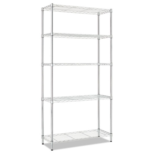 Alera® Residential Wire Shelving, Four-Shelf, 36w x 14d x 54h, Silver