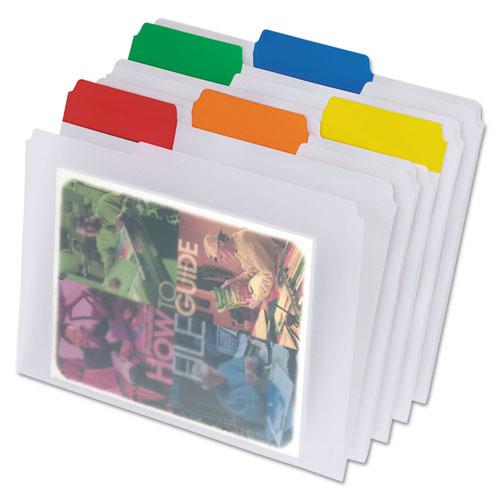 Poly File Folders, 1/3-Cut Tabs, Letter Size, Clear, 25/Box | by Plexsupply