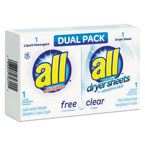 All® Free Clear HE Liquid Laundry Detergent/Dryer Sheet Dual Vend Pack, 100/Ctn