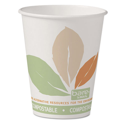 Dart® Bare by Solo Eco-Forward PLA Paper Hot Cups, 8 oz, Leaf Design, 50/Pack