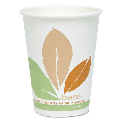 Bare by Solo Eco-Forward PLA Paper Hot Cups, 12 oz, Leaf Design, 50/Pack 412PLNJ7234P