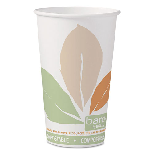 Bare by Solo Eco-Forward PLA Paper Hot Cups, 16 oz, Leaf Design, 50/Pack 316PLABBPK