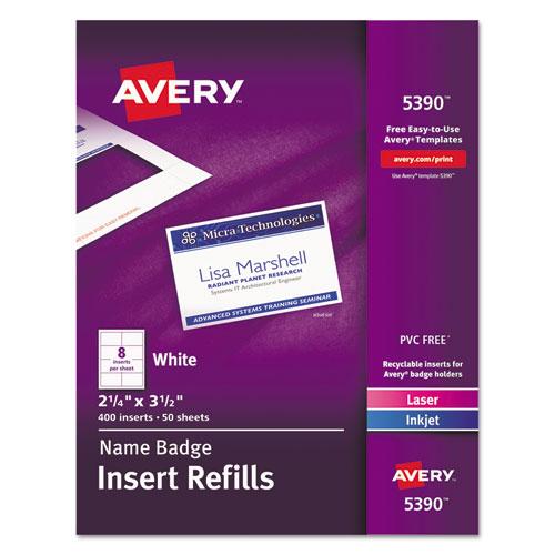 Avery® Additional White Laser/Inkjet Insert for Badge Holder,2 1/4 x 3 1/2,White,400/BX