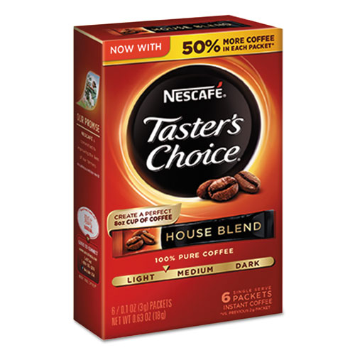 Nescafé® Taster's Choice House Blend Instant Coffee, 0.1oz Stick, 6/Box, 12Box/Carton