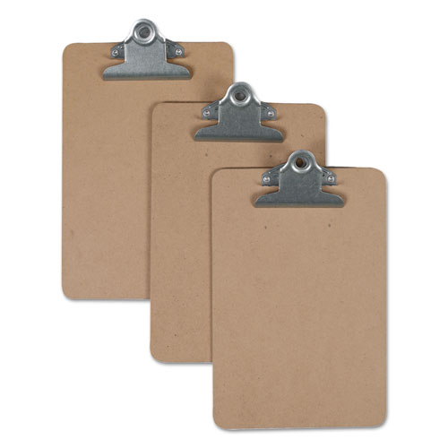 Hardboard Clipboard, 3/4 Capacity, 5 x 8 Sheets, Brown, 3/Pack