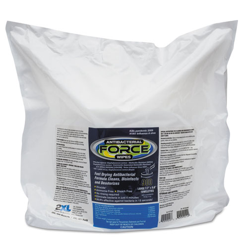 2XL FORCE Antibacterial Wipes Refill, 8 x 6, White, 900/Pack, 4/Carton