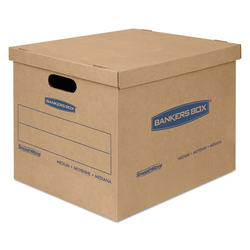 "SmoothMove Classic Moving & Storage Boxes, Medium, Half Slotted Container (HSC), 18"" x 15"" x 14"", Brown Kraft/Blue, 8/Carton 