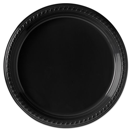 "Dart® Party Plastic Plates, 10 1/4"", Black, 500/Carton"