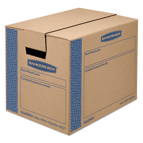 SmoothMove Prime Moving  Storage Boxes, Small, Regular Slotted Container (RSC), 16 x 12 x 12, Brown Kraft/Blue, 10/Carton