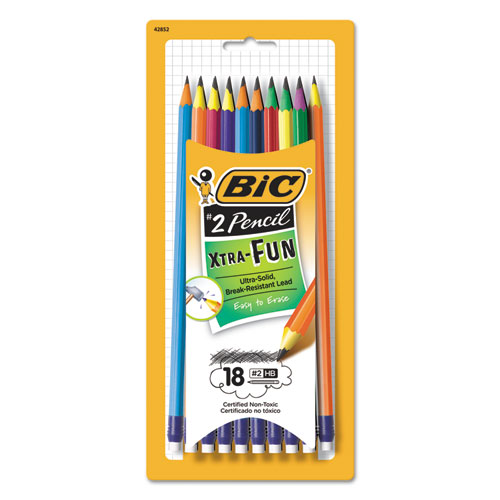 #2 Pencil Xtra Fun, 0.7 mm, Assorted Two-Tone Barrel Colors, 18/Pack BICPGEP181