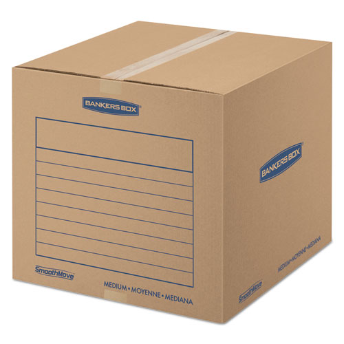 SmoothMove Basic Moving Boxes, Medium, Regular Slotted Container (RSC), 18 x 18 x 16, Brown Kraft/Blue, 20/Bundle