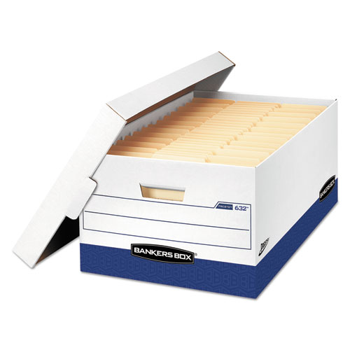 "PRESTO Heavy-Duty Storage Boxes, Legal Files, 16"" x 10.38"", White/Blue, 12/Carton 