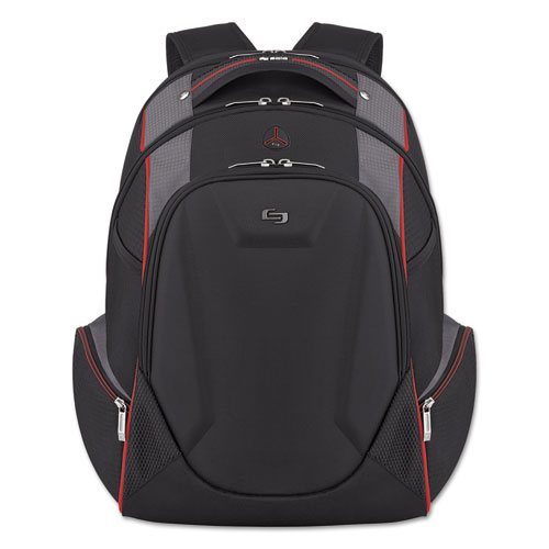 "Active Laptop Backpack, 17.3"", 12 1/2 x 8 x 19 1/2, Black/Gray/Red ACV7114"