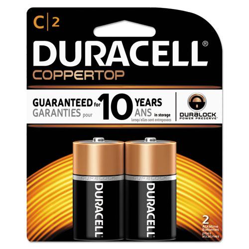 Duracell® CopperTop Alkaline Batteries, C, 2/PK