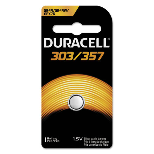 Duracell® Button Cell Silver Oxide Calculator/Watch Battery, 303/357, 1.5V, 6/Box