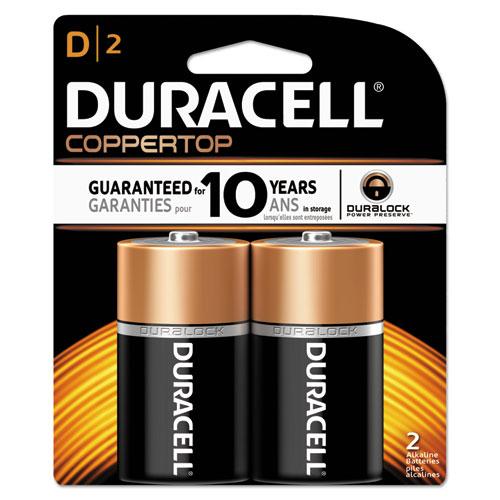 Duracell® CopperTop Alkaline Batteries, D, 2/PK