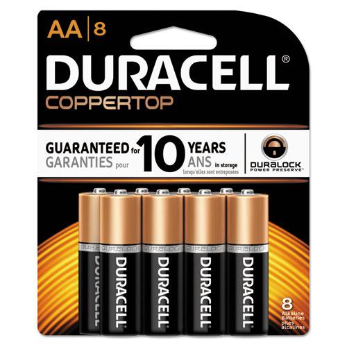 Duracell® CopperTop Alkaline Batteries, AA, 8/PK