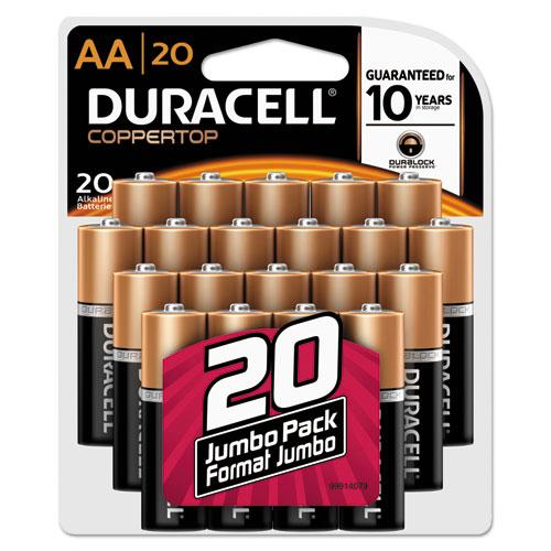 Duracell® CopperTop Alkaline Batteries, AA, 20/PK