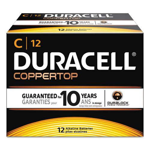Duracell® CopperTop Alkaline Batteries, C, 12/BX