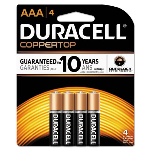 Duracell® CopperTop Alkaline Batteries, AAA, 4/PK