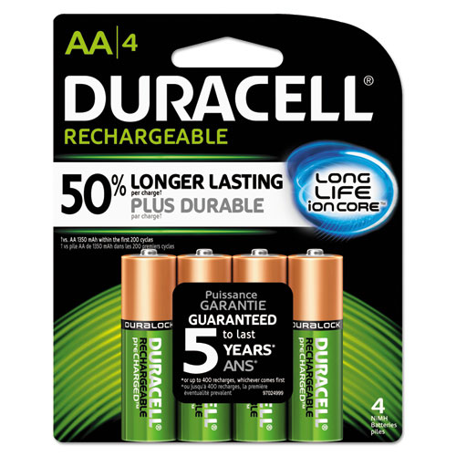 Duracell® Rechargeable NiMH Batteries, AA, 2/PK