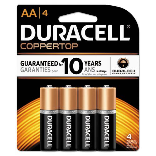 Duracell® CopperTop Alkaline Batteries with Duralock Power Preserve Technology, AA, 4/Pk