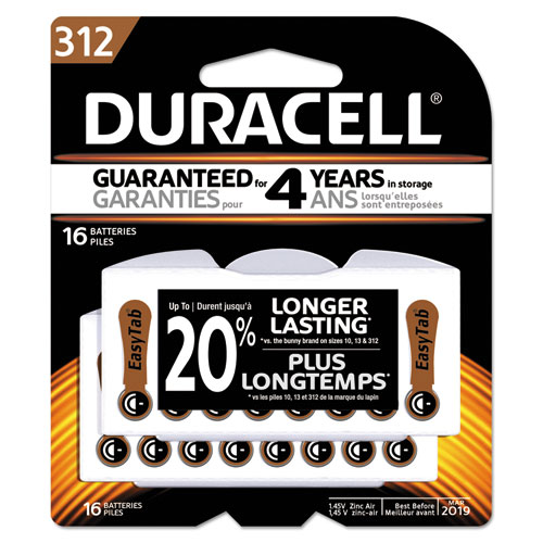 Button Cell Hearing Aid Battery #312, 16/Pk