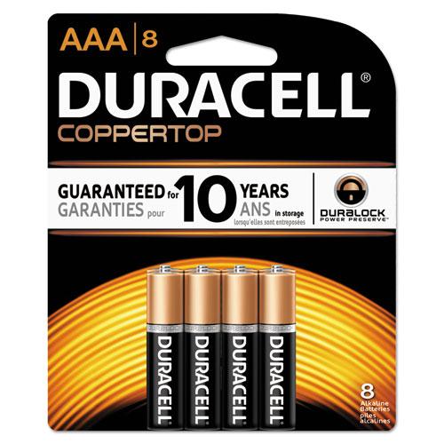 Duracell® CopperTop Alkaline Batteries, AAA, 8/PK, 40 PK/Carton