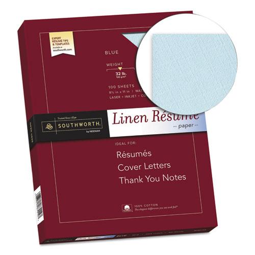 100 cotton linen resume paper 32lb 8 1 2 x 11 blue 100 sheets