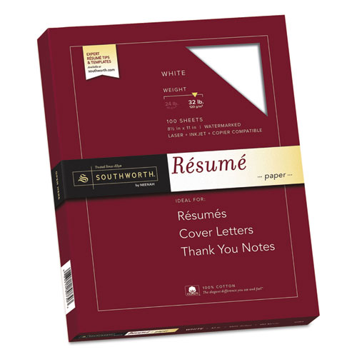 100% Cotton Resume Paper, 95 Bright, 32 lb, 8.5 x 11, White, 100/Pack | by Plexsupply