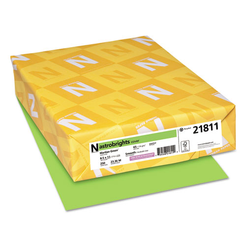 Color Cardstock, 65 lb, 8.5 x 11, Martian Green, 250/Pack