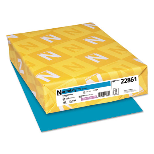 Wausau paper - astrobrights colored card stock, 65 lbs., 8-1/2 x 11, celestial blue, 250 sheets, sold as 1 pk
