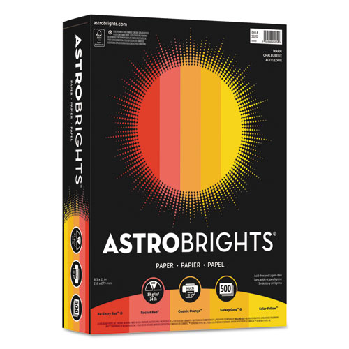 Wausau paper - astrobrights colored paper, 24lb, 8-1/2 x 11, warm assortment, 500 sheets/ream, sold as 1 rm