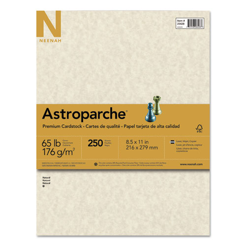 Wausau paper - astroparche cover stock, 65 lbs., 8-1/2 x 11, natural, 250 sheets/pack, sold as 1 pk