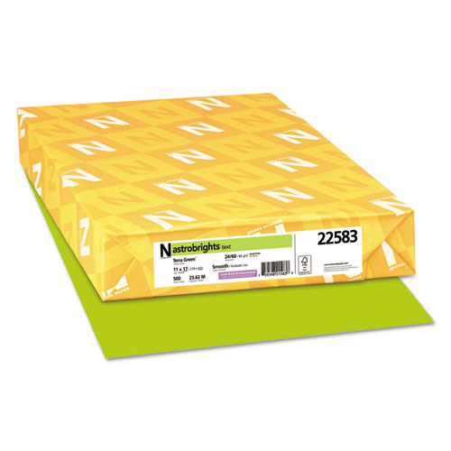 Wausau paper - astrobrights colored paper, 24lb, 11 x 17, terra green, 500 sheets/ream, sold as 1 rm