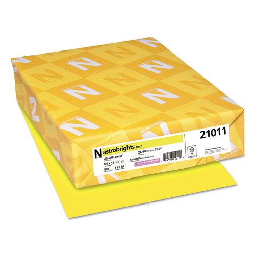 Astrobrights colored paper, 24lb, 8-1/2 x 11, lift-off lemon, 500 sheets/ream, sold as 1 ream
