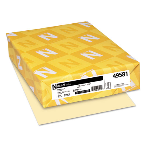 Wausau paper - exact index card stock, 110 lbs., 8-1/2 x 11, ivory, 250 sheets/pack, sold as 1 pk