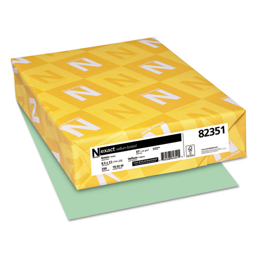 Wausau paper - exact vellum bristol cover stock, 67 lbs., 8-1/2 x 11, green, 250 sheets, sold as 1 pk